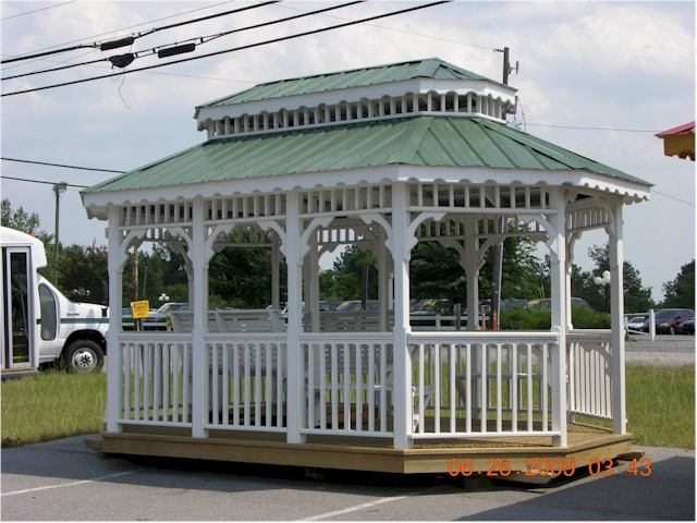 10X16 GAZEBO W/ADULT 4PERSON SWING STAINED WHITE METAL ROOF BUILT BY THE  AMISH